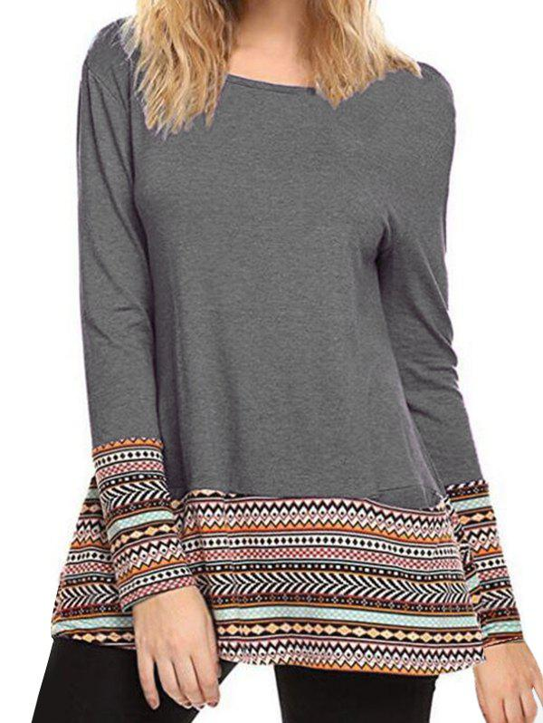 Discount Printed Round Neck Tee with Pockets