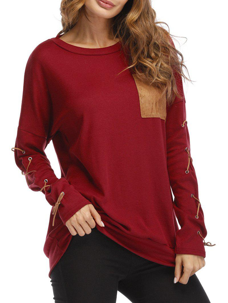 Chic Lace Up Drop Shoulder Pocket Sweatshirt
