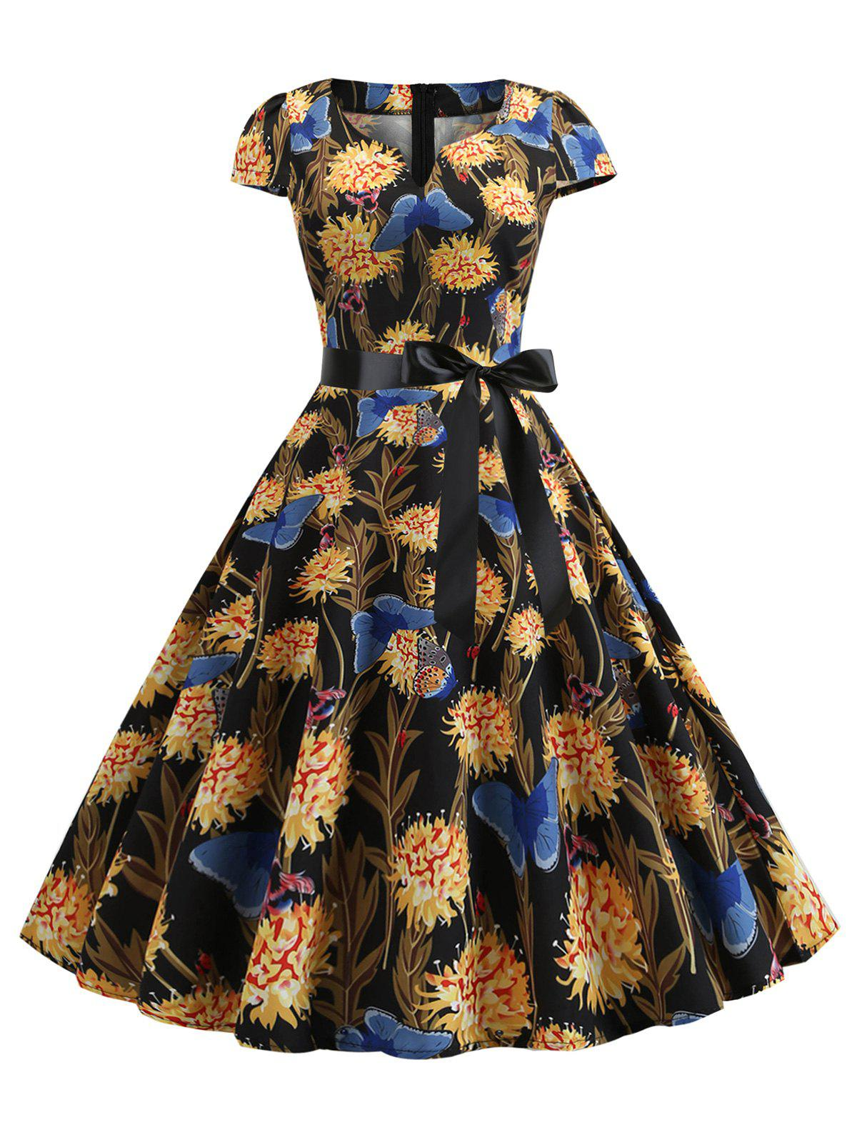 Store Butterfly Floral Belted Notched Vintage Dress