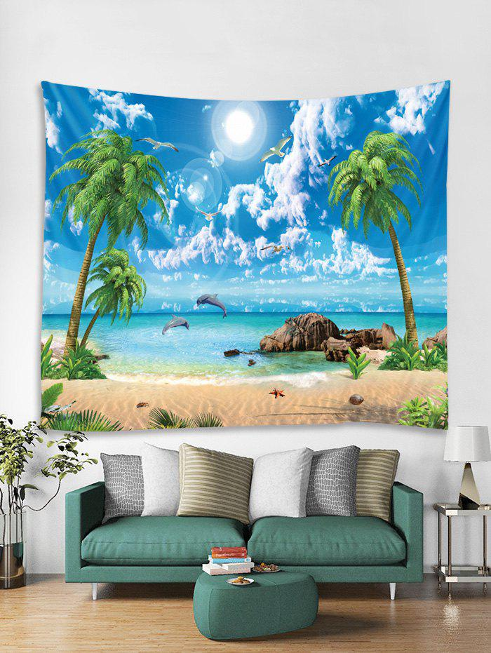 Best Coconut Palm Sea Beach Pattern Printed Tapestry