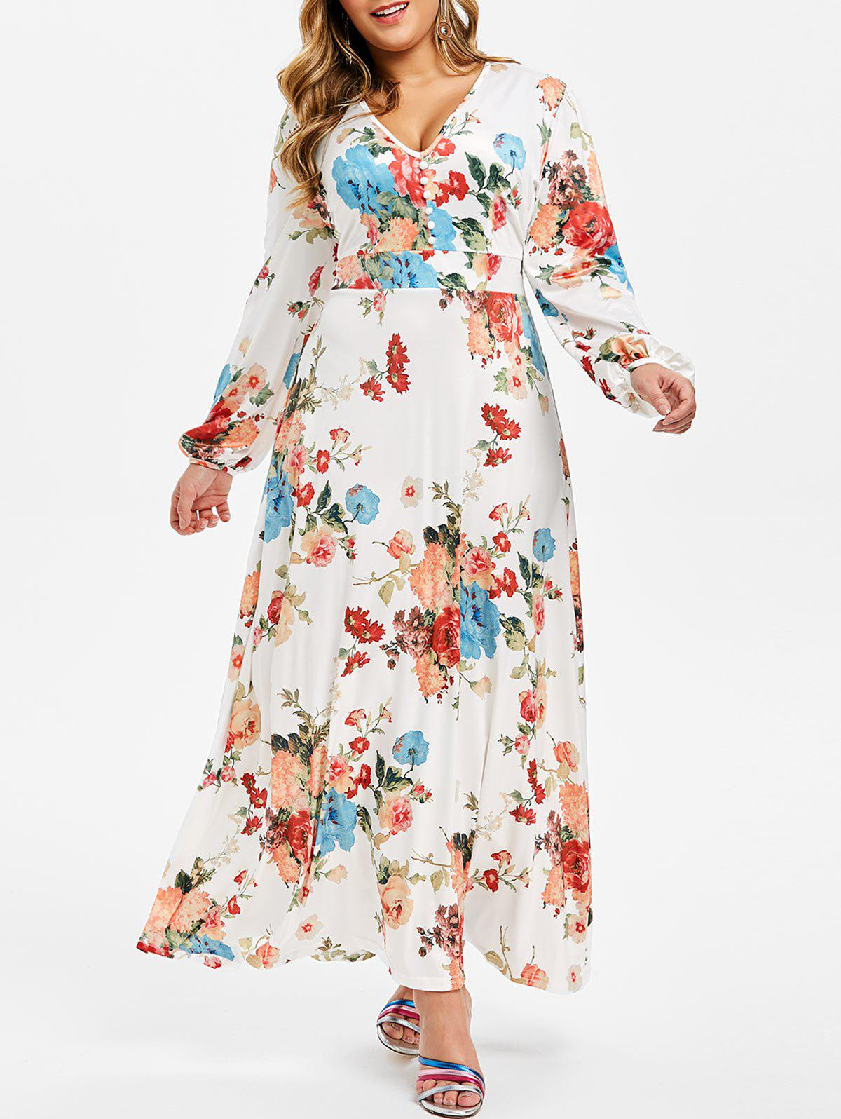 Plus Size Floral Boho Maxi Dress
