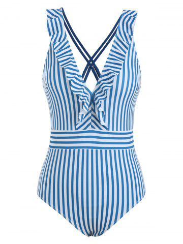 Ruffle Striped Plunge One-piece Swimsuit