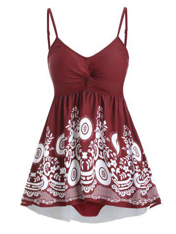 Floral Twisted Tummy Control Tankini Swimwear