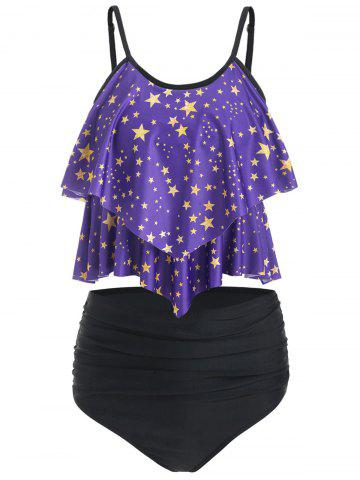 Star Print Overlay Padded Tankini Swimsuit