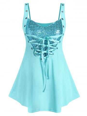 Plus Size Sequined Lace Up Rings Tank Top - TRON BLUE - 3X