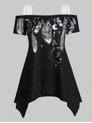 Feather Moon Print Open Shoulder Asymmetrical T-shirt -