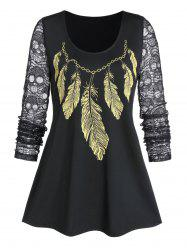Sheer Round Collar Feather Print T Shirt -