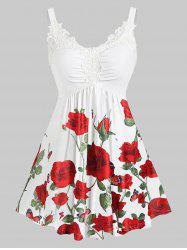 Plus Size Floral Print Lace Insert Sweetheart Neck Tank Top -