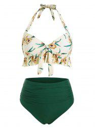 Ruffle Floral Ruched Knot Bikini Swimsuit -