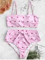 Heart Print Side Boning High Waisted Bikini Swimsuit -