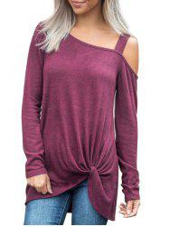 Twisted Skew Neck Solid Longline Tee -