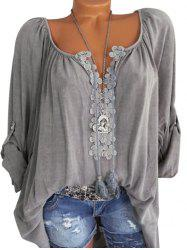 Plus Size Roll Up Sleeve Lace Crochet Peasant Blouse -