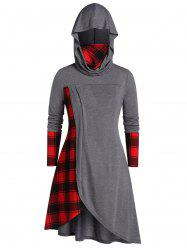 Plus Size Hooded Plaid Long Tunic Tee -