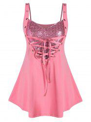 Plus Size Sequined Lace Up Rings Tank Top -