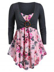 Plus Size Sweetheart Collar Floral Print Tunic T Shirt -
