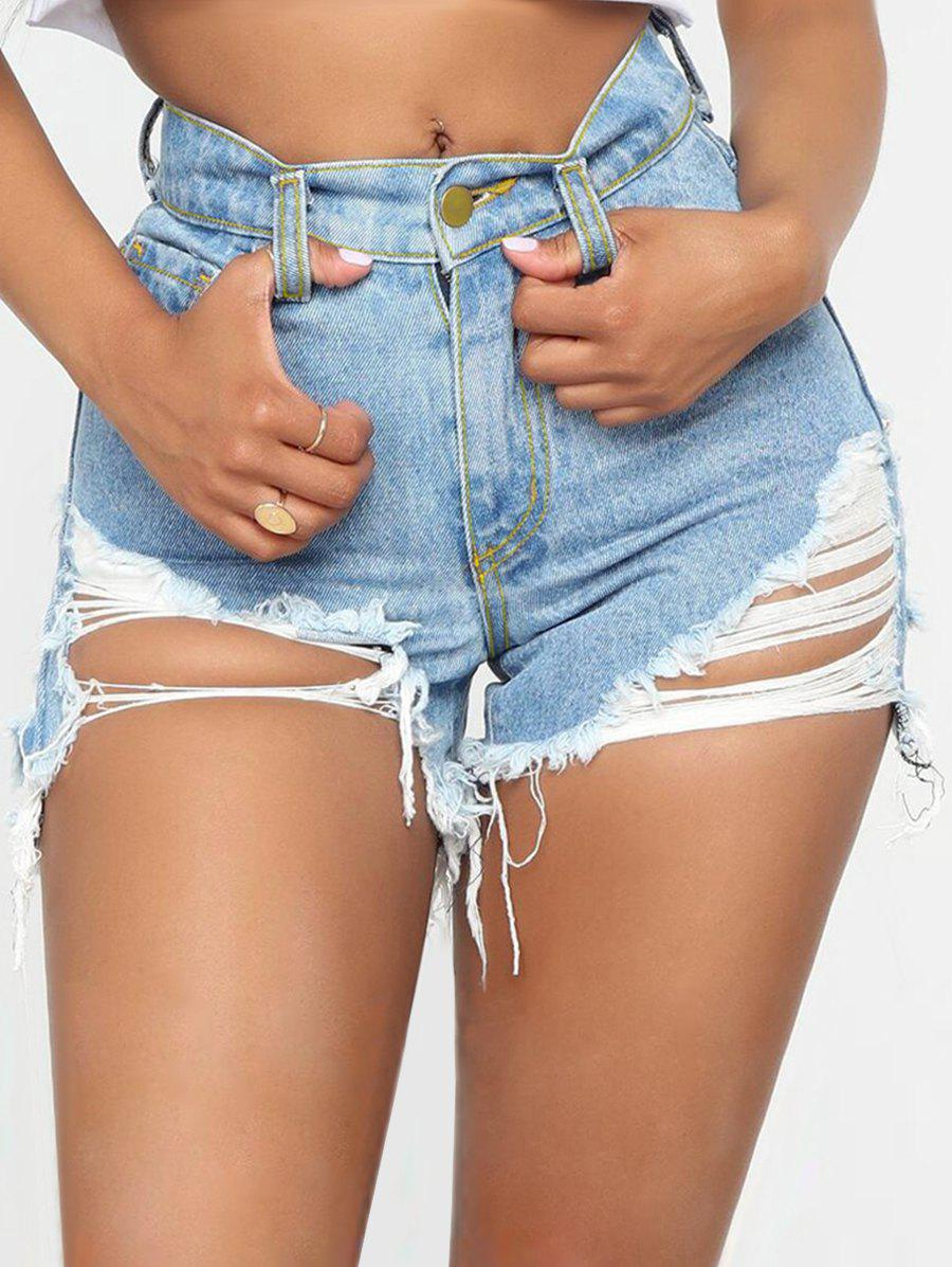 Outfit Ripped Frayed Zipper Denim Shorts