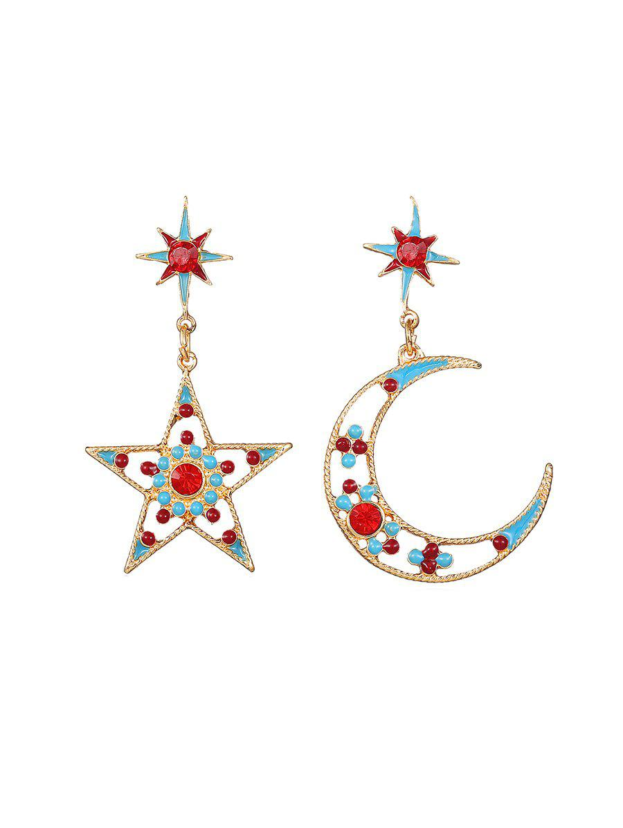 Unique Star Moon Hollow Rhinestone Drop Earrings