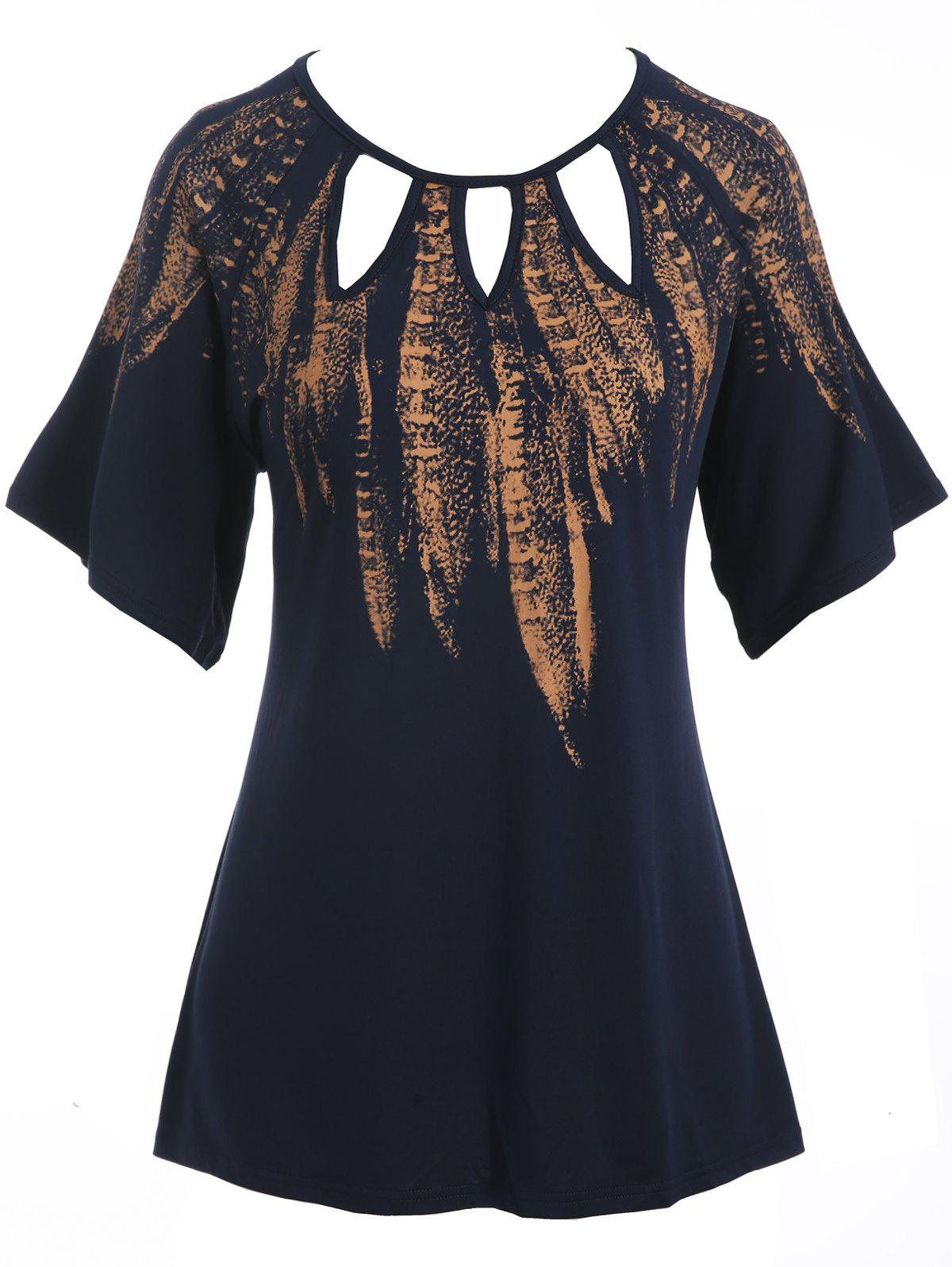 Store Plus Size Feather Print Cut Out T-shirt