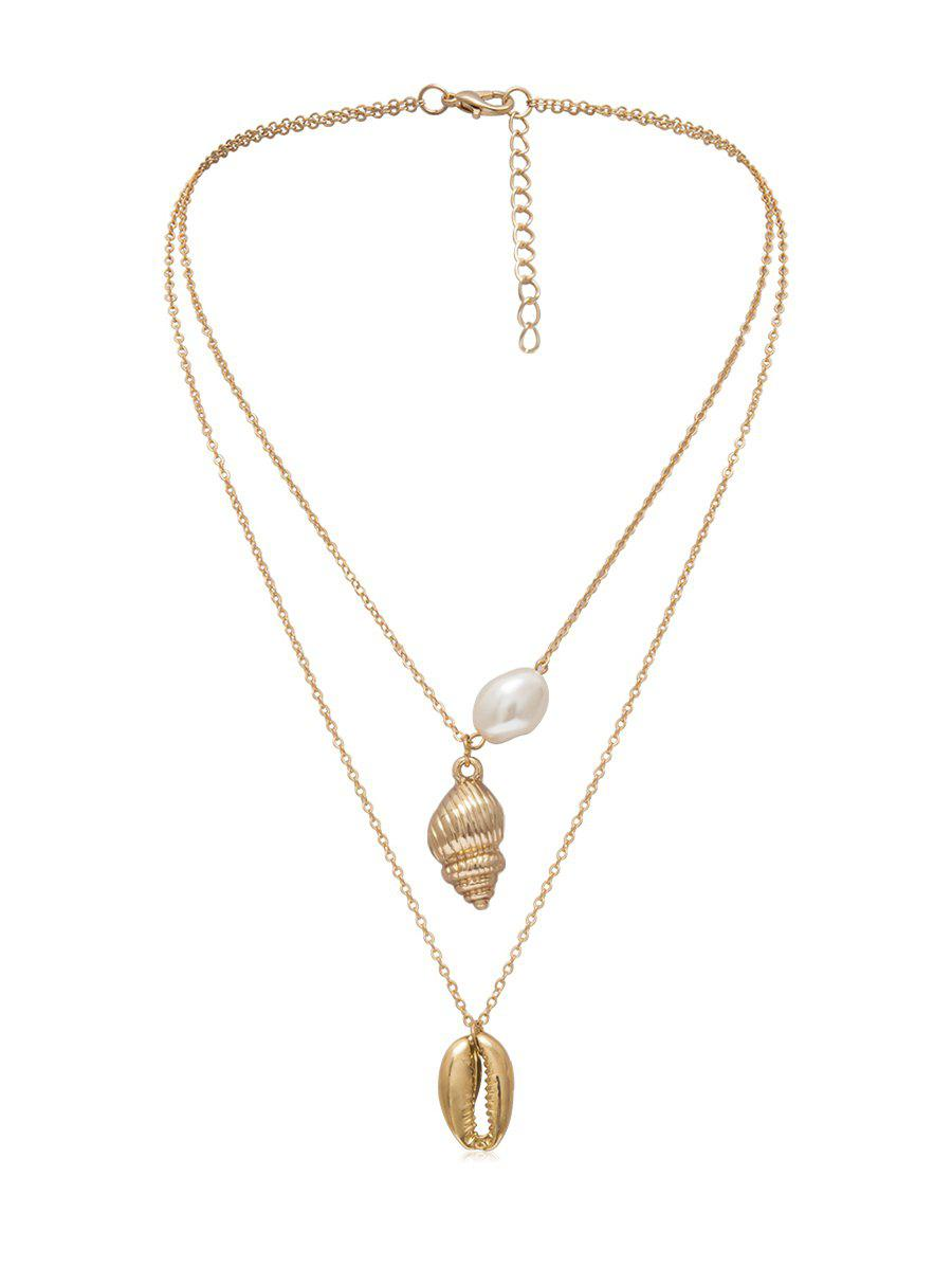Buy Shell Conch Faux Pearl Layered Necklace
