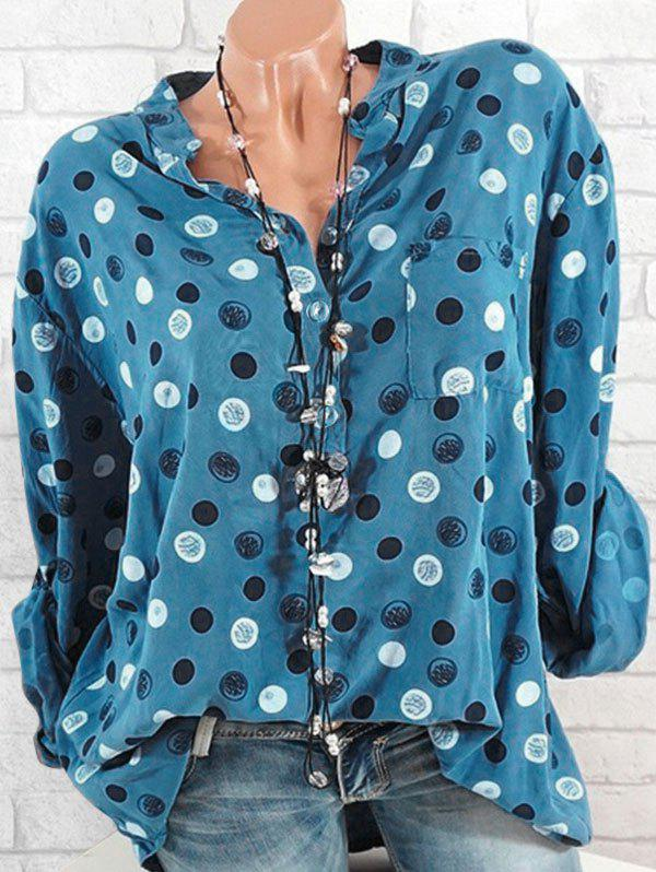 Online Plus Size Half Button Dotted Roll Up Sleeve Blouse
