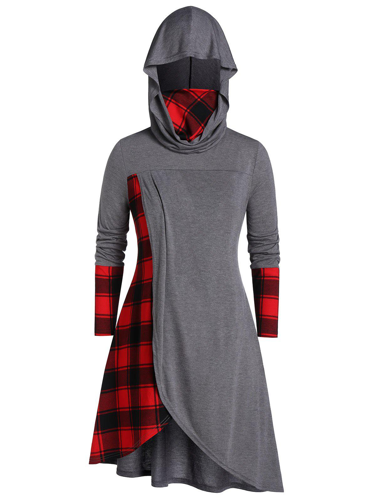 Shop Plus Size Hooded Plaid Long Tunic Tee