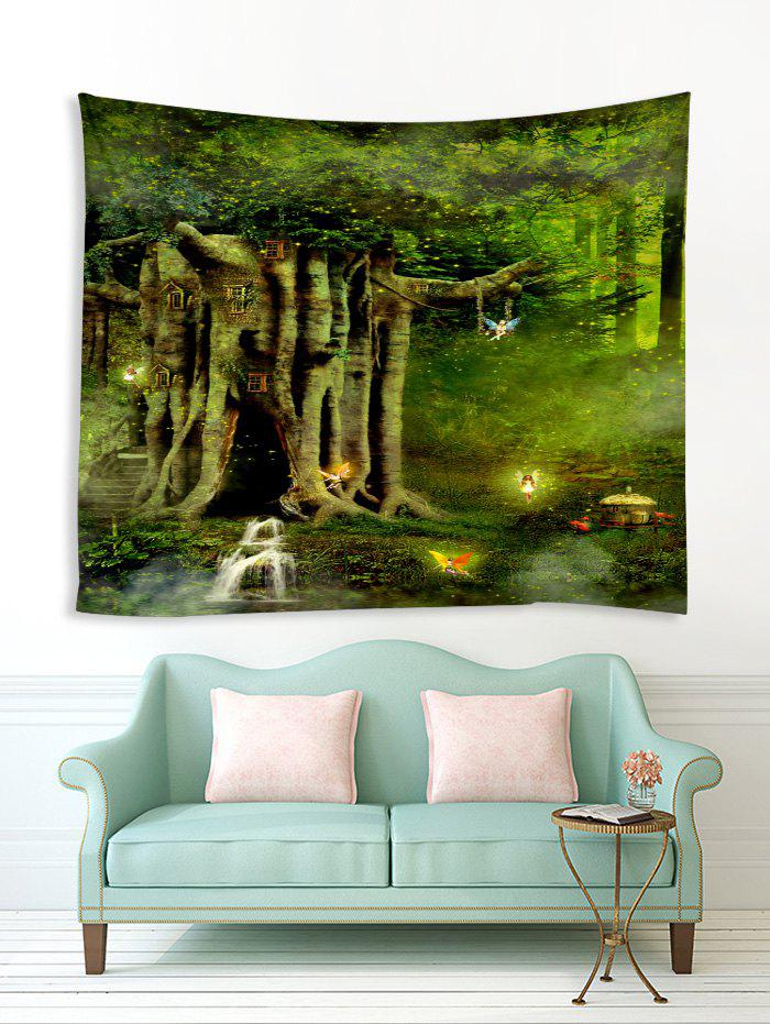 New Forest Elf Tree House Print Tapestry Wall Hanging Art Decoration