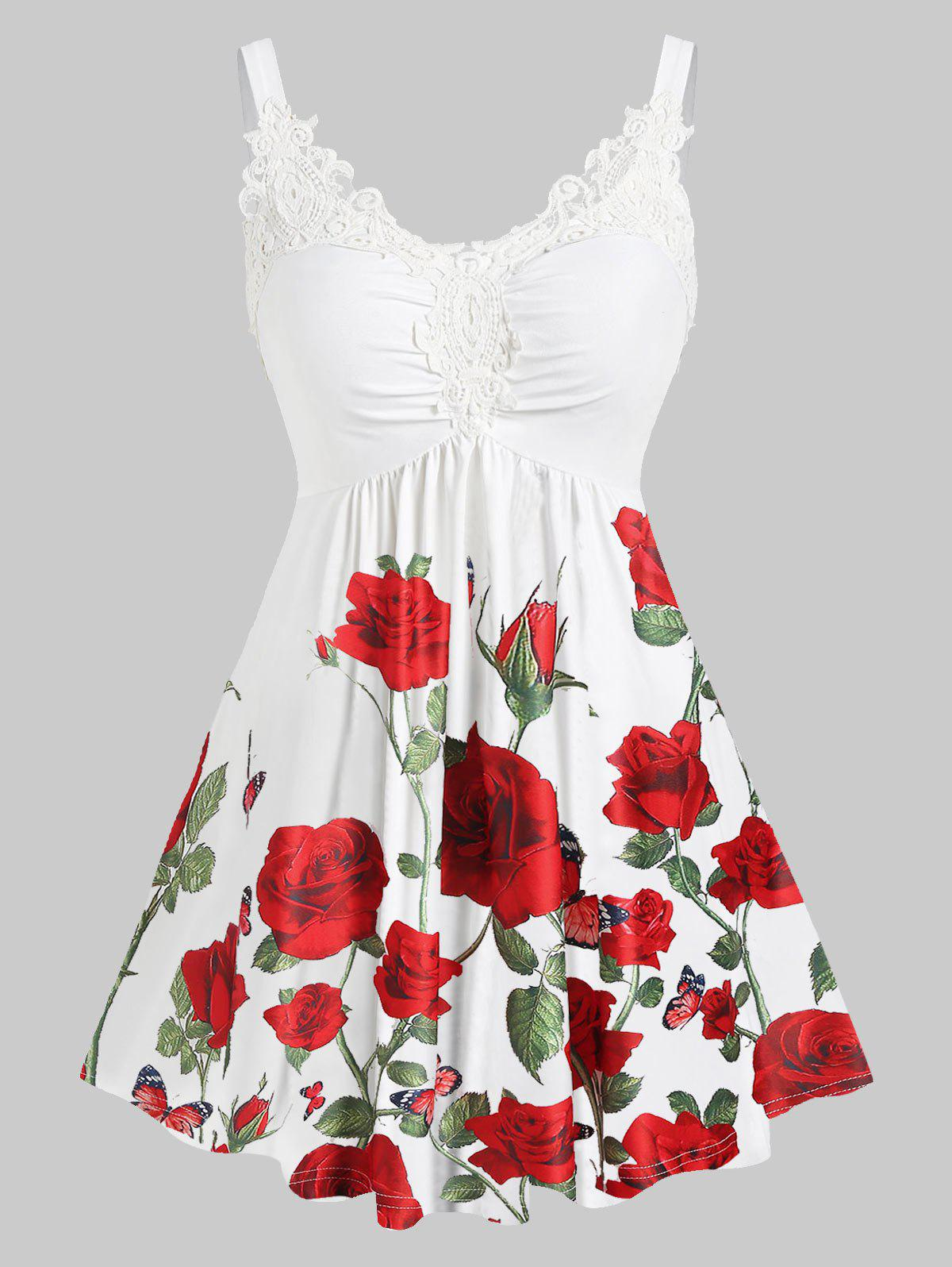 Outfit Plus Size Floral Print Lace Insert Sweetheart Neck Tank Top