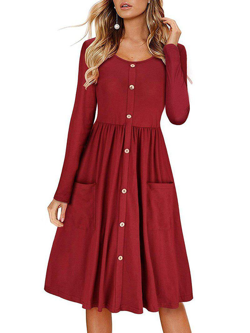 Trendy Buttons Pockets Long Sleeves A Line Dress