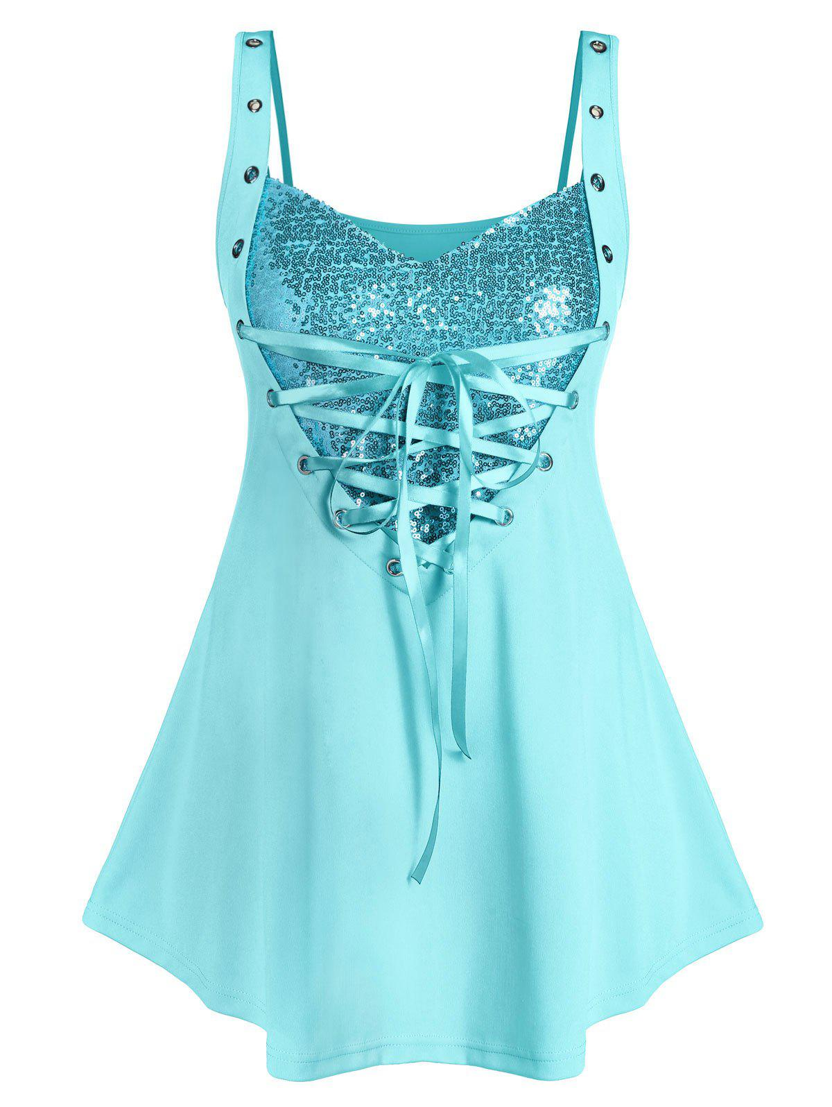 Outfit Plus Size Sequined Lace Up Rings Tank Top