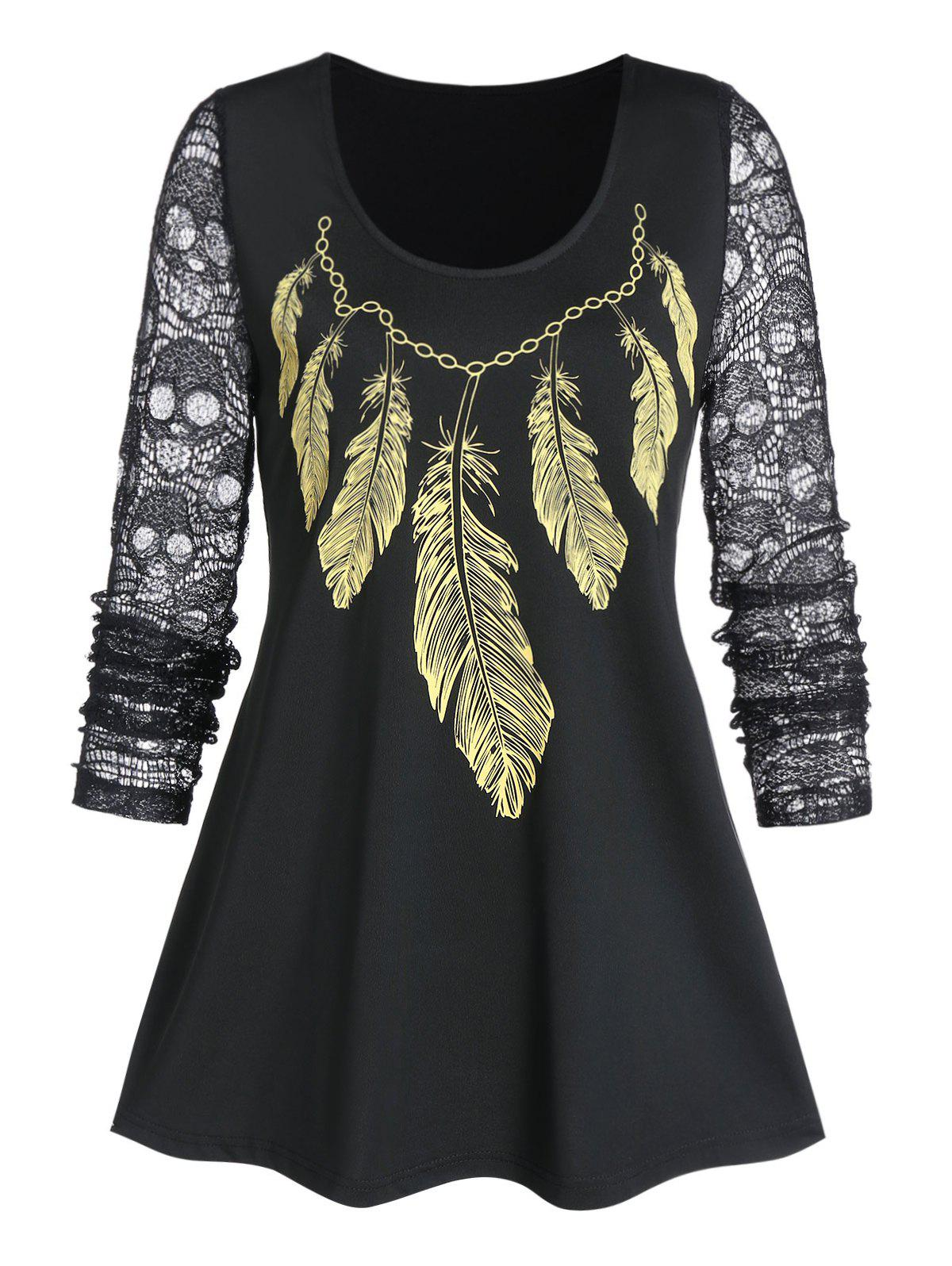 Affordable Sheer Round Collar Feather Print T Shirt