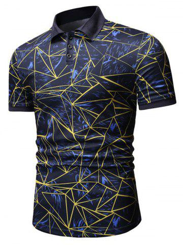 Abstract Geometric Crystal Print Shirt Collar T Shirt