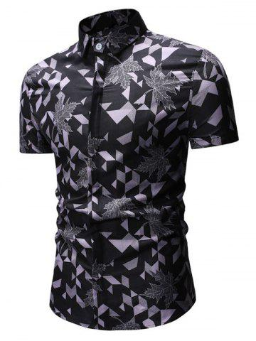 Geometric Leaf Print Button Up Casual Shirt