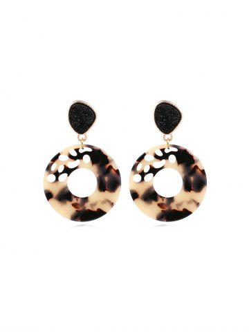 Round Hollow Patterned Stud Drop Earrings