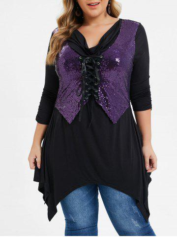 Plus Size Sequined Lace Up Handkerchief Cowl Neck Tee