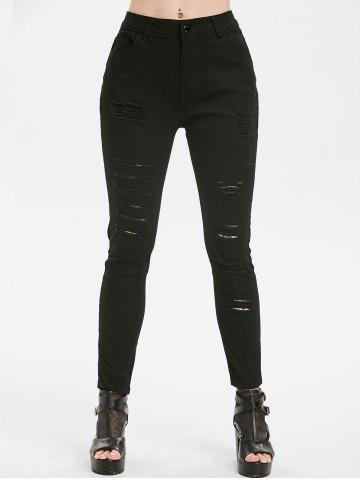 Distressed Pocket Zipper Fly Jeans