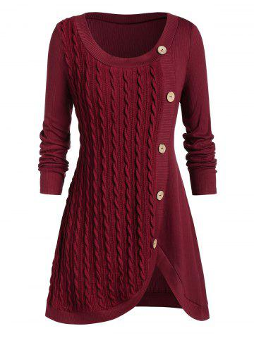 Plus Size Split Buttoned Cable Knit Sweater - RED WINE - 3X