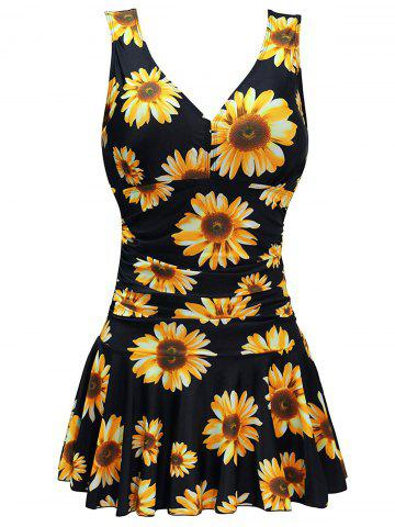 Plus Size Random Sunflower Ruched Skirted One-piece Swimsuit - BLACK - 1X