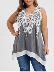 Plus Size Racerback Applique Panel Tulip Back Tunic Tank Top -