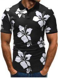 Floral Print Shirt Collar Button T Shirt -
