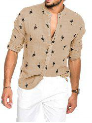 Tiny Flamingo Print Long Sleeve Button Vacation Shirt -