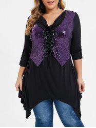 Plus Size Sequined Lace Up Handkerchief Cowl Neck Tee -