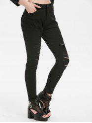Distressed Pocket Zipper Fly Jeans -