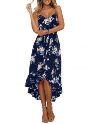 Floral Ruffle Sleeveless Asymmetrical Dress -