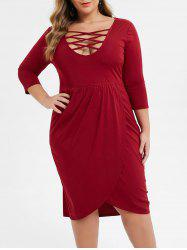 Plus Size Low Cut Criss Cross Midi Tulip Dress -
