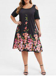 Plus Size Cold Shoulder Floral Print A Line Dress -