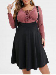 Plus Size Eyelet Buckle Midi Gothic Suspender Skirt -
