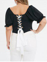 Plus Size Lace Up Grommet Frilled Sweetheart Neck Bodysuit -