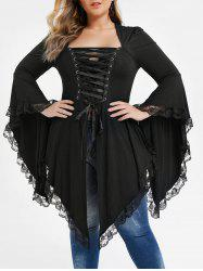 Plus Size Lace Up Asymmetrical Lace Panel Gothic Tee -