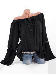 Plus Size Off Shoulder Lace Crochet Blouse -