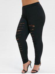 Plus Size Lace Panel Skinny Ripped Leggings -